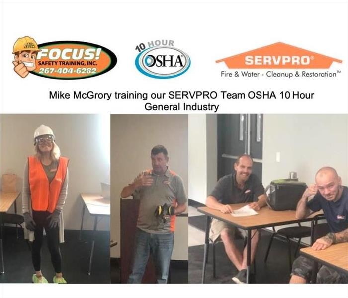 Instructor training three members of the SERVPRO of Pennypack/Bustleton team in the Training Center